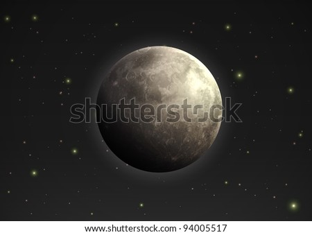 Vector illustration of cool single weather icon - realistic moon in the night sky - stock vector