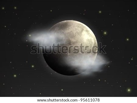 Vector illustration of cool single weather icon - realistic moon with few clouds floats in the night sky - stock vector