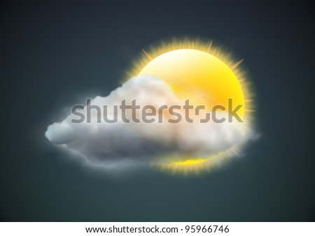 Vector illustration of cool single weather icon - sun with cloud floats in the dark sky - stock vector