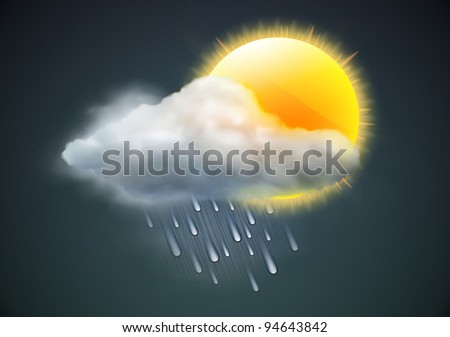 Vector illustration of cool single weather icon - sun with raincloud and raindrops in the dark sky