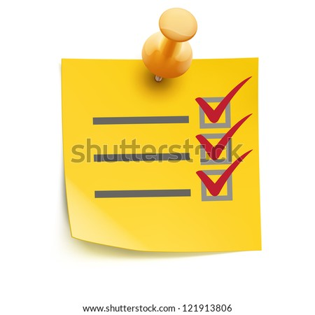 Vector illustration of cool yellow check list with push pin isolated on a white background. - stock vector
