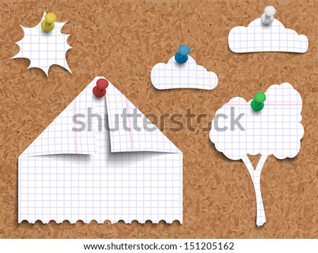 Vector illustration of corkboard with pinned children's work of paper landscape made of pages torn from exercise book in cage, cut and folded in shapes of a house, a tree, clouds with sun. - stock vector