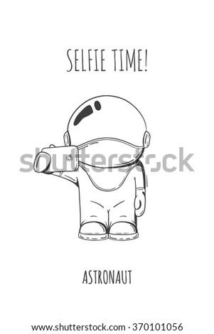 Vector illustration of cosmonaut with smartphone in hand. Design concept. photos myself. selfie time.  character - stock vector