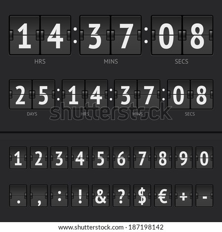 Vector illustration of countdown timer and scoreboard numbers - stock vector