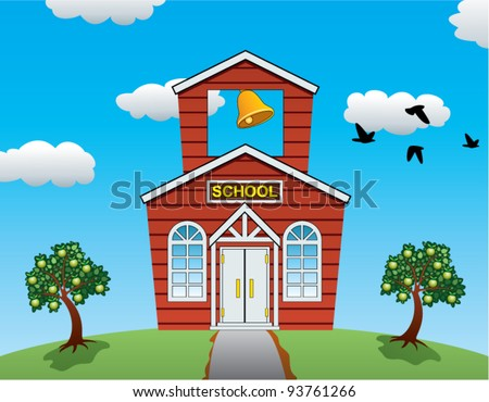 vector illustration of country school house, apple trees, clouds and flying birds - stock vector