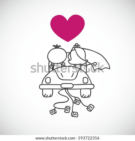 vector illustration of couple in wedding car(cartoon doodle) - stock vector