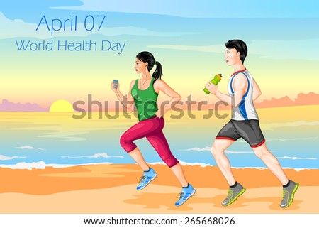 vector illustration of couple jogging for wellness - stock vector