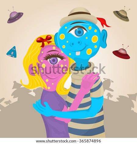 Vector illustration of couple of monster aliens hugging together. - stock vector
