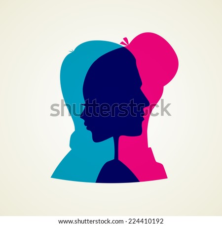 Vector illustration of Couple's silhouette - stock vector