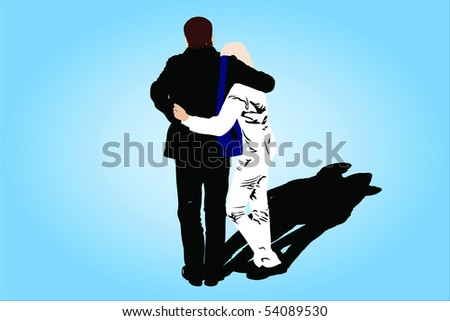 Vector illustration of couple under the dark background - stock vector