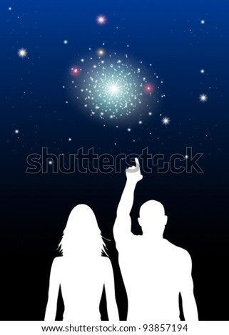 Vector Illustration of Couple viewing Stars - stock vector