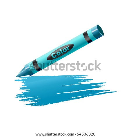 Vector Illustration of crayon drawing on the sheet of paper. - stock vector