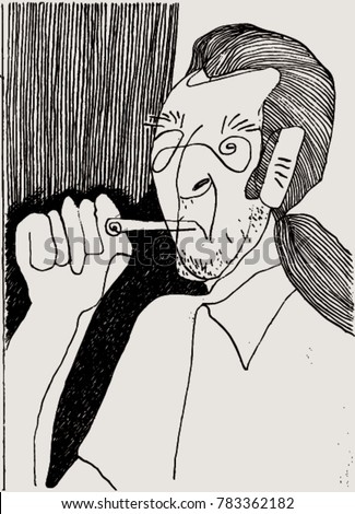 Vector illustration of crazy man smoking. Doodle, cartoon, long haired person. Black & White.