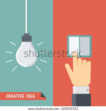 Vector illustration of creative idea. Hanging lightbulb or lamp, hand touches the switch. Flat style - stock vector