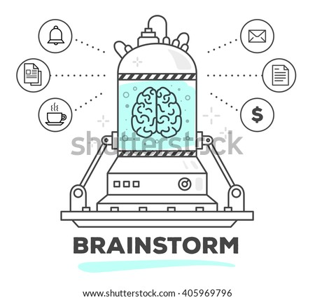 Vector illustration of creative professional mechanism of brain work with business icon on white background.Draw flat thin line art style monochrome design with blue color.Modern concept of brainstorm - stock vector
