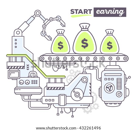 Vector illustration of creative professional mechanism to produce money on the conveyor belt, text start earning on white background. Draw flat thin line art style design of business finance, start up - stock vector