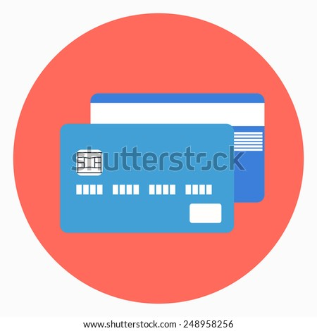 Vector illustration of credit card flat icon  - stock vector