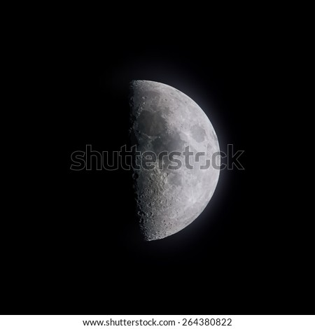 Vector illustration of crescent moon in clear summer night. - stock vector