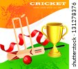 vector illustration of cricket kit with trophy - stock vector