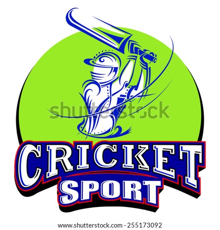 vector illustration of cricket player playing with bat - stock vector