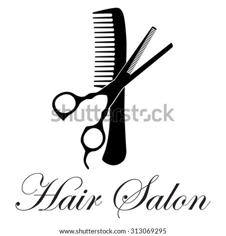 Vector illustration crossed black silhouette comb stock for Hair salon companies