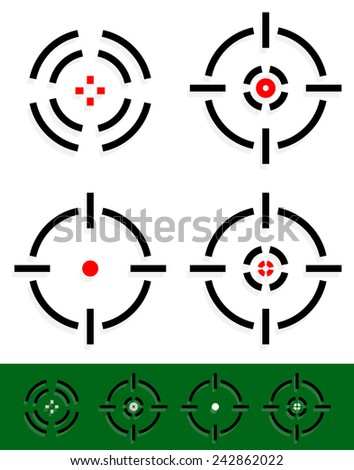 Vector illustration of crosshair, reticle, target mark set. Four different cross-hairs with red midpoint. - stock vector