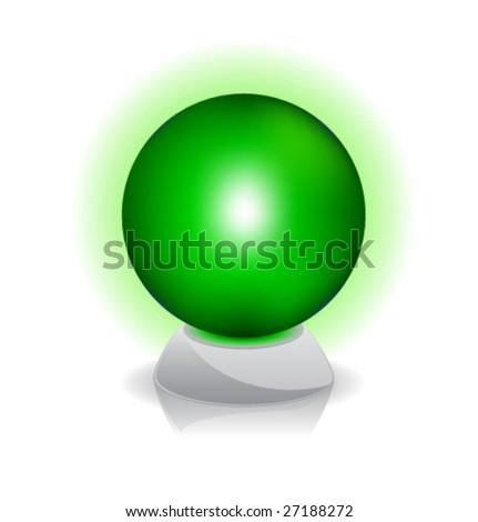 Vector illustration of Crystal magic ball. Green. - stock vector