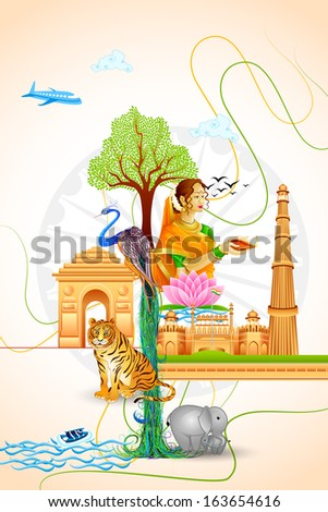 vector illustration of Culture of India - stock vector
