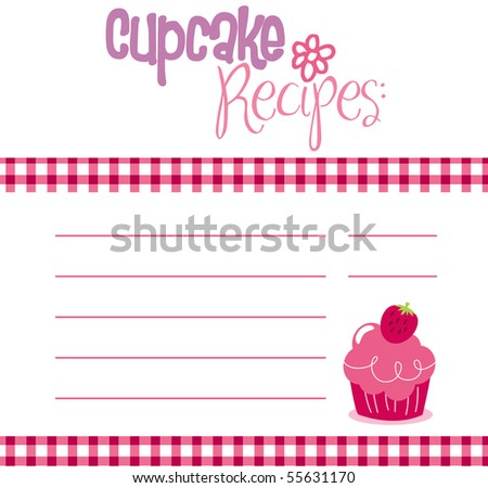 Vector illustration of cupcake recipe template. - stock vector
