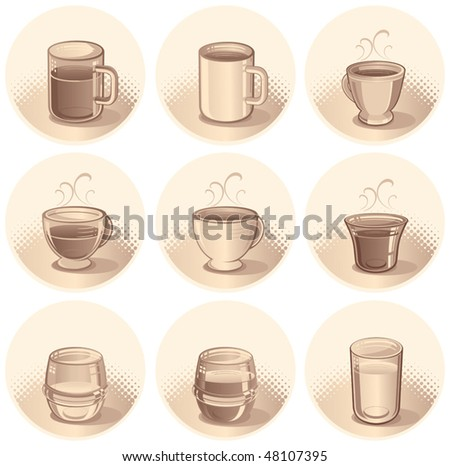 vector Illustration of Cups and Glasses with Drinks and Beverages .Sepia Tone - stock vector
