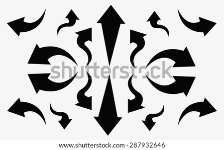 Vector illustration of curved arrow icons. - stock vector