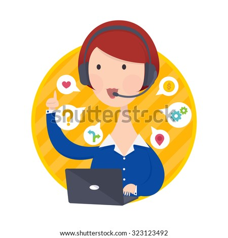 Vector illustration of Customer Support Help Desk Woman in Blue Shirt Operator Service Concept - stock vector