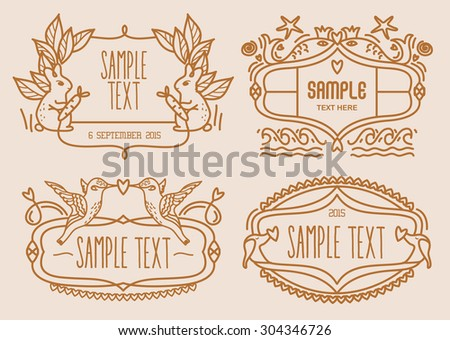 Vector illustration of cute animal label - stock vector