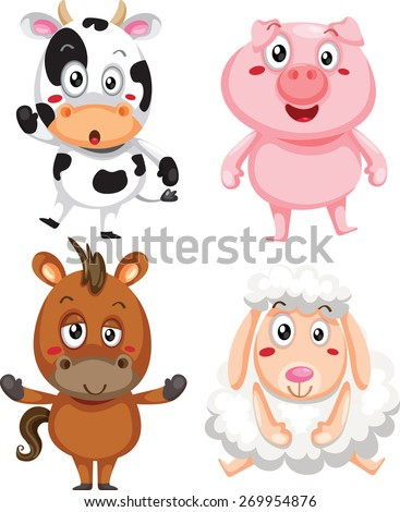 Vector illustration of cute animal set including cow, pig, horse and sheep. - stock vector
