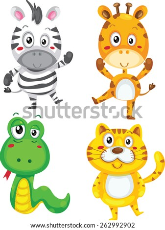 Vector illustration of cute animal set including zebra, giraffe, snake and tiger. - stock vector