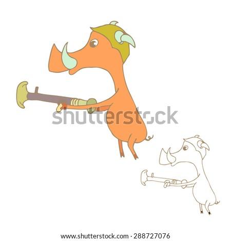 Vector illustration of cute animal. Vector illustration of cartoon pig. Cute cartoon pig - stock vector