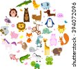 Vector illustration of cute animals and birds: alligator, Fox, giraffe, bear, cat, dog, elephant, frog, chicken, Zebra, turtle, rabbit, iguana, monkey, whale, unicorn, Koala, penguin - stock vector