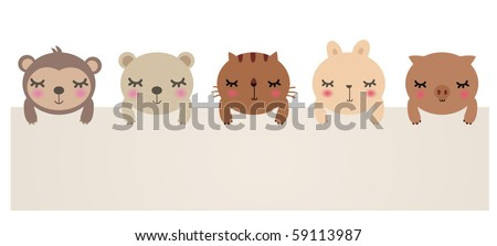 Vector Illustration of cute animals with blank sign.bear,cat,rabbit,pig and monkey. - stock vector