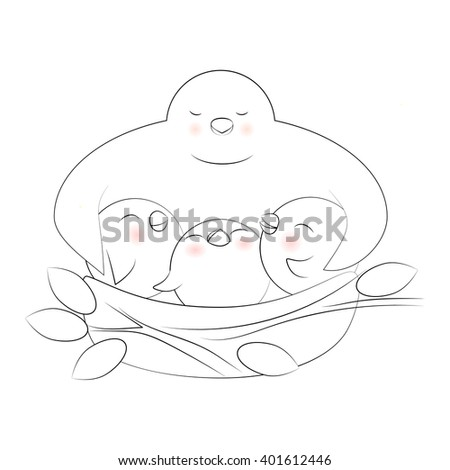 Vector illustration of cute birds. Happy mother's day greeting card. Lovely cartoon birds in the nest. Mama bird hugging her babies.