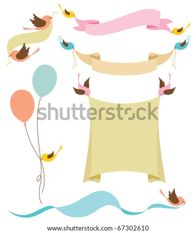 Vector illustration of cute birds holding banners. - stock vector
