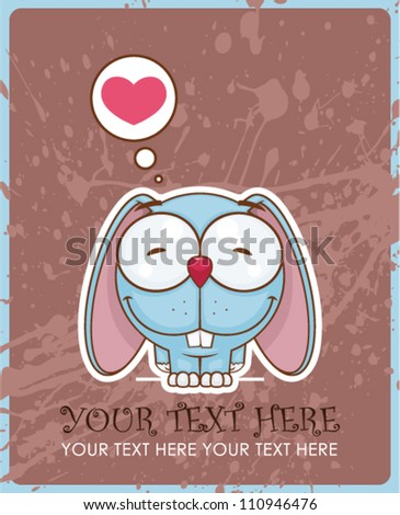Vector illustration of  cute cartoon bunny character and heart.