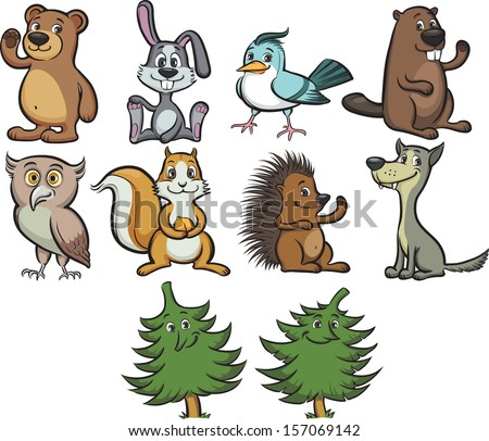 Vector illustration of cute cartoon forest animals and trees. Easy-edit layered vector EPS10 file scalable to any size without quality loss. High resolution raster JPG file is included. - stock vector