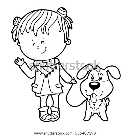 Vector Illustration Of Cute Cartoon Girl And Dog Character For Children Coloring Page