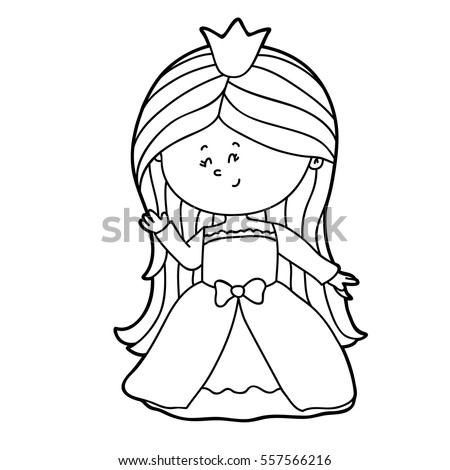 vector illustration of cute cartoon girl character for children coloring page - Children Coloring Pages