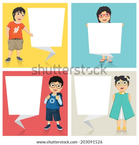 Vector Illustration Of Cute Children With Flat Origami Banners - stock vector