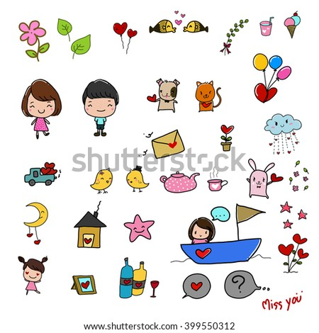 vector illustration of cute cute-love cartoon drawing style