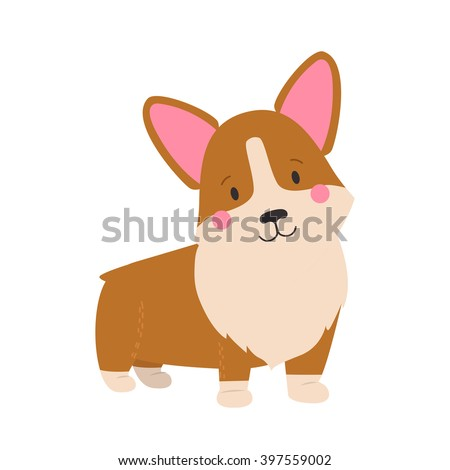 Vector illustration of cute dog Welsh Corgi. Nice puppy for greeting card, pet shop or veterinary clinics. Dog Welsh Corgi standing