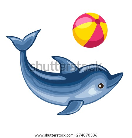 Vector illustration of cute dolphin playing beach ball