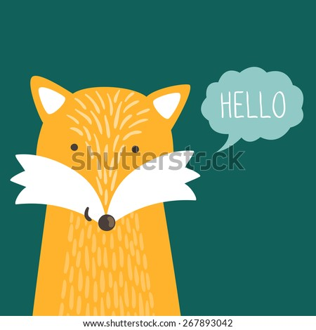 "Vector illustration of cute fox and text ""Hello"". Childish background with smiling cartoon character. - stock vector"