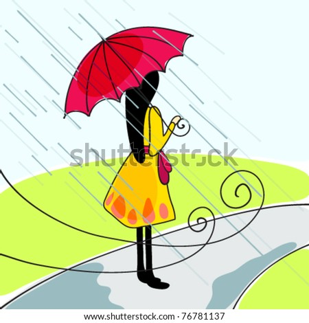 Vector illustration of cute girl with umbrella - stock vector
